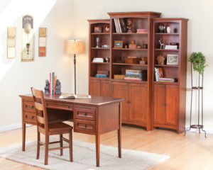 Whittier Wood Furniture Glazed Antique Cherry Home Office Suite including Wall Unit Bookcase with Doors
